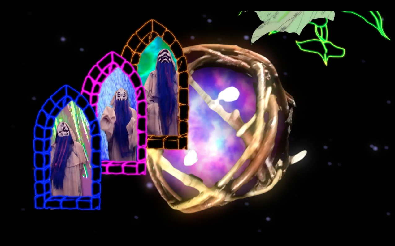three portals show three figures in front of another portal appearing in a ball of string. All of this is on a black background