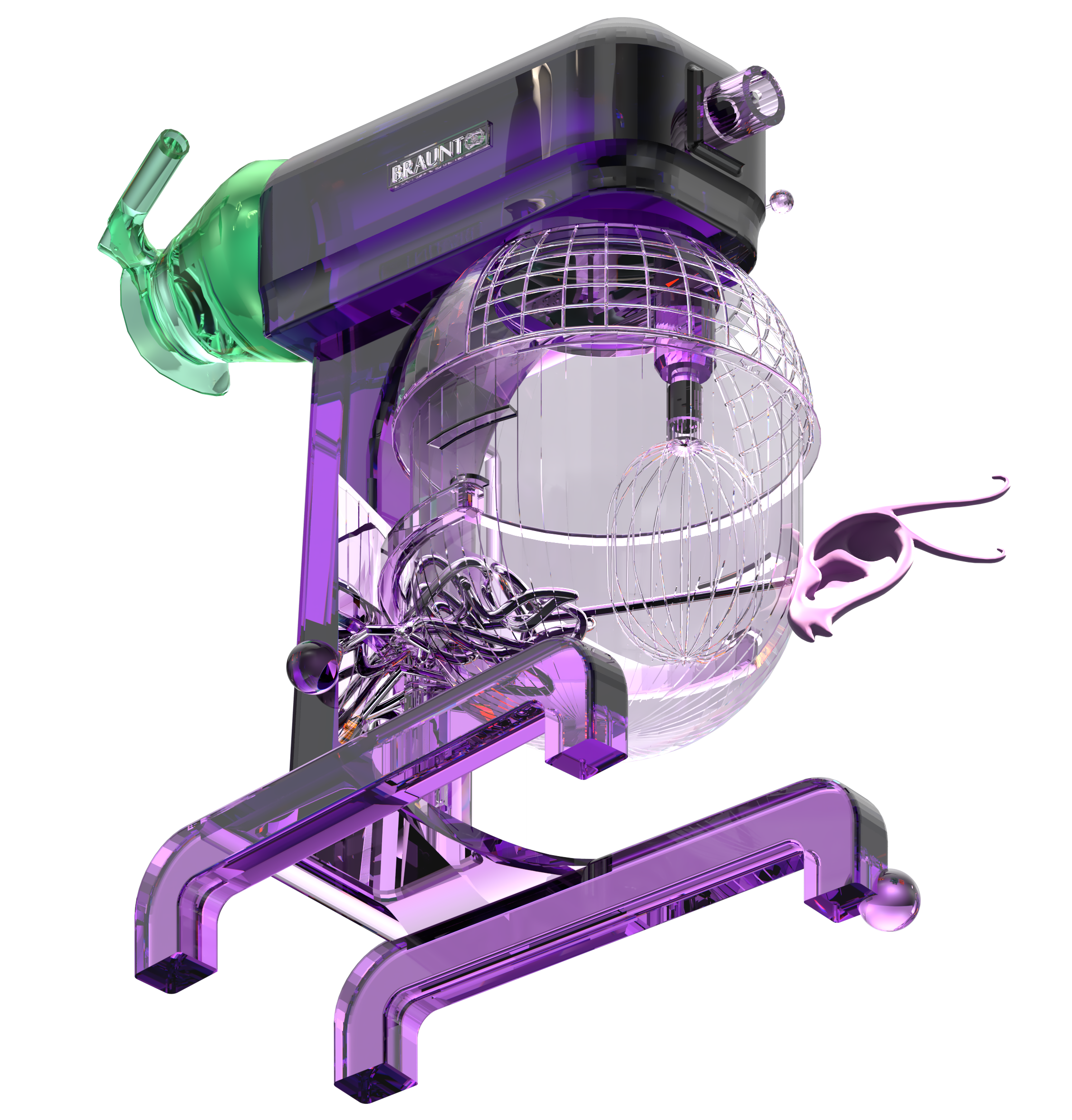a purple machine that looks like a combination of a mircoscope, a stand-mixer and other scientific and kitchen related tools