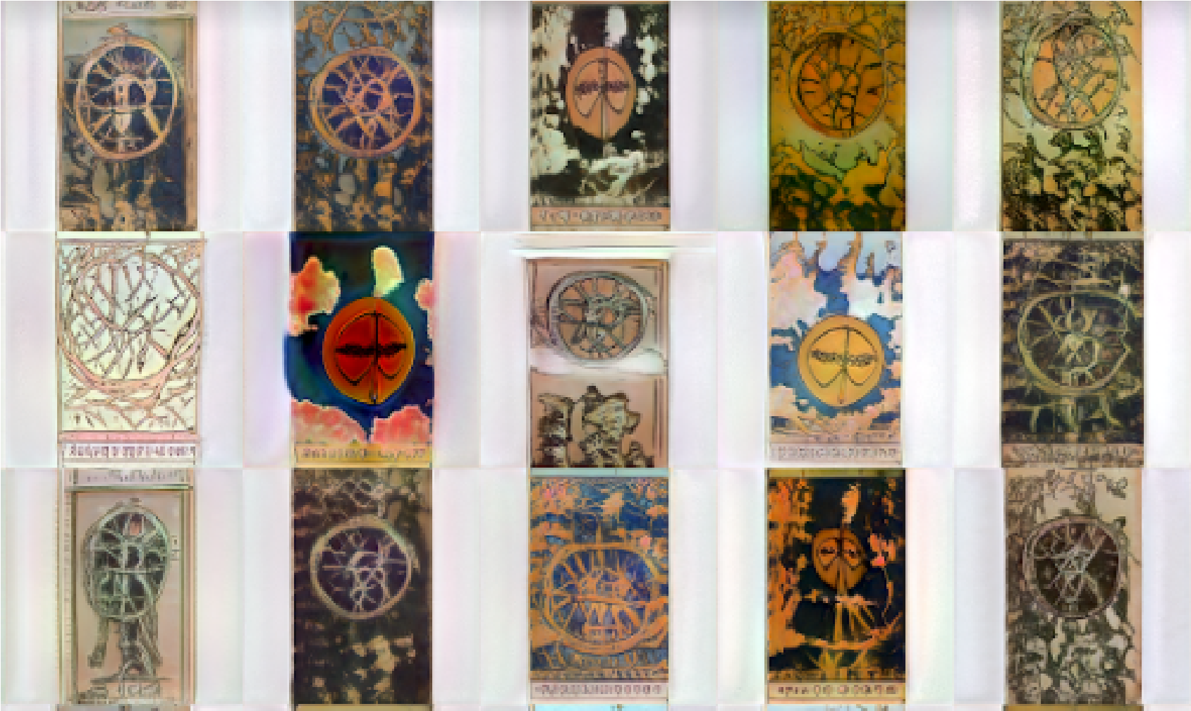 a grid image of several tarot cards illustrated by the artist