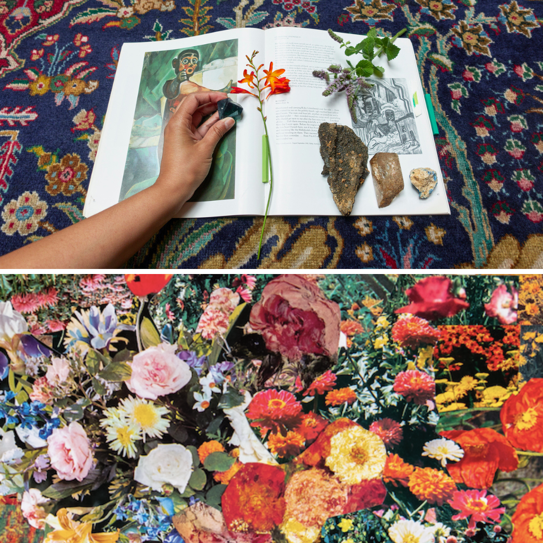 A split screen image showing an open book on a rug on the top with a freesia book, some stone, and a hand resting on top of it. The bottom image is a collage of different coloured blooms, orange, yellow, pink and white